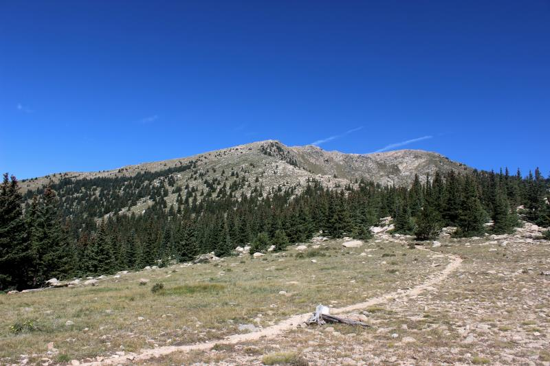 View of Santa Fe Baldy at saddle