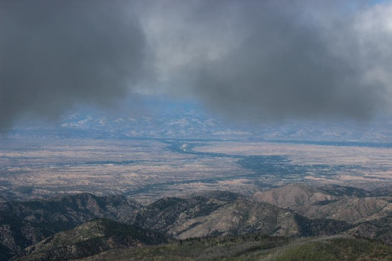 Summit view from Santa Fe Baldy zoomed in with dark clouds