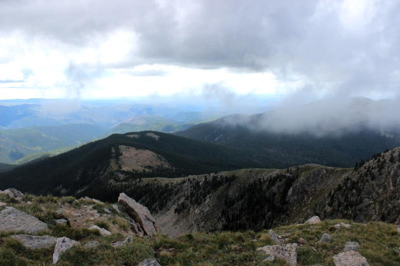 Summit view from Santa Fe Baldy with clouds rolling in