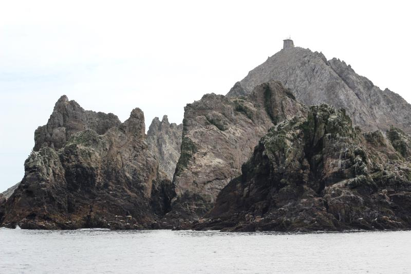 Rocks of Farallon Islands with high point in background