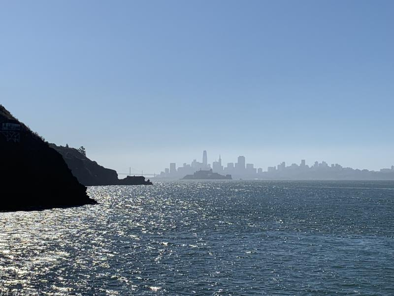 San Francisco and Alcatraz seen from ferry to Angel Island