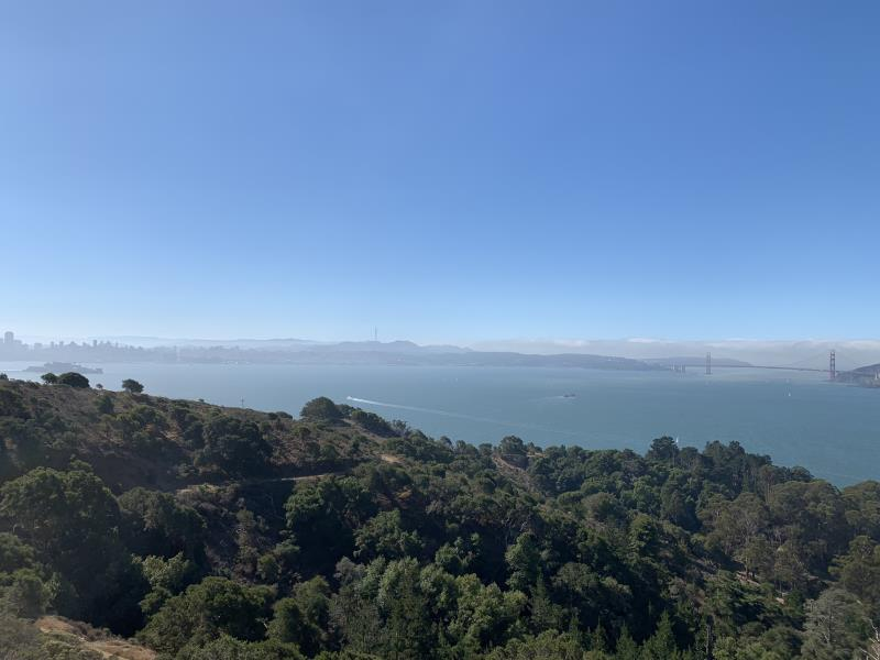 Golden Gate Bridge seen from top of Angel Island