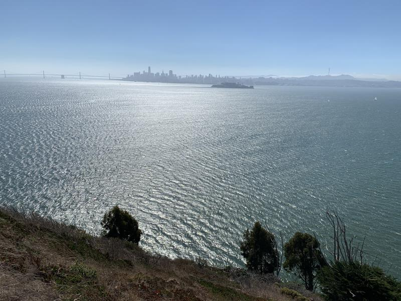 San Francisco and Alcatraz seen from top of Angel Island