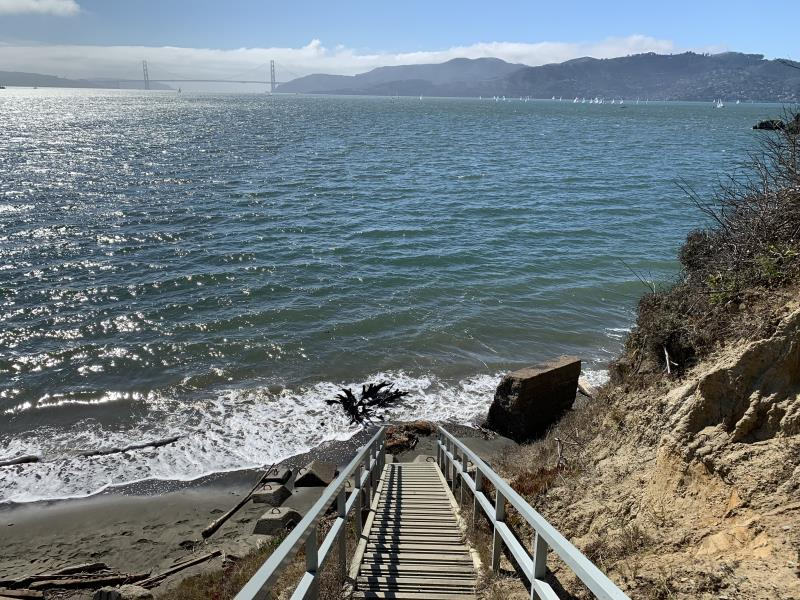 Stairs down to Perles Beach on Angel Island