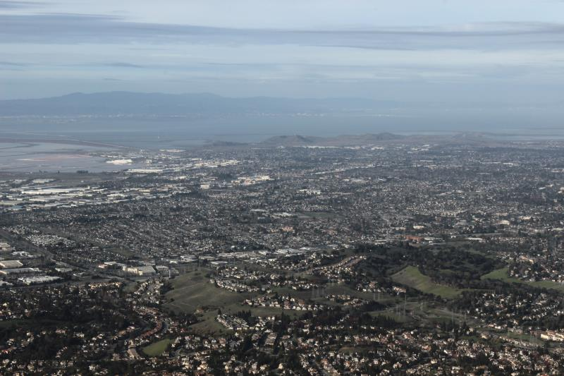 Overlooking city and bay from summit of Mission Peak