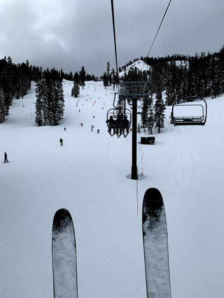 Riding up lift in Alpine Meadows