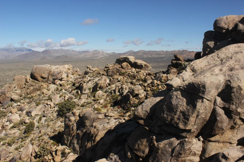 View from top of rocks on Teutonia Peak Trail