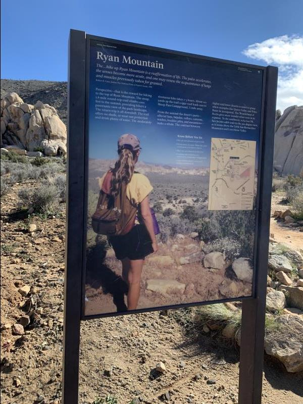 Trail sign for Ryan Mountain