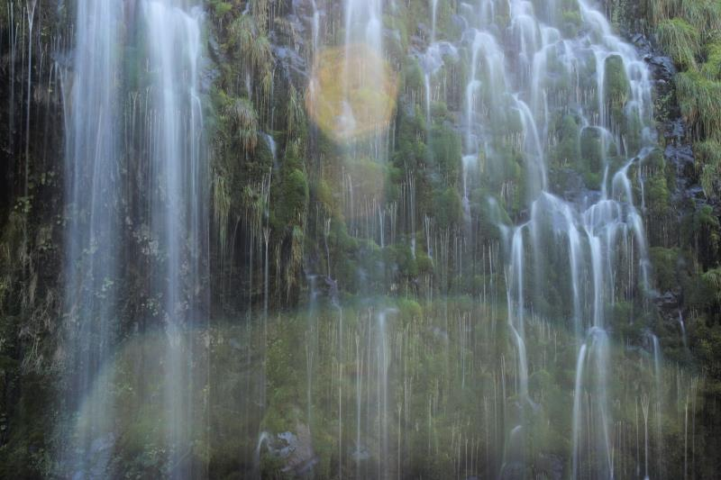 Mossbrae Falls up close with lens flare