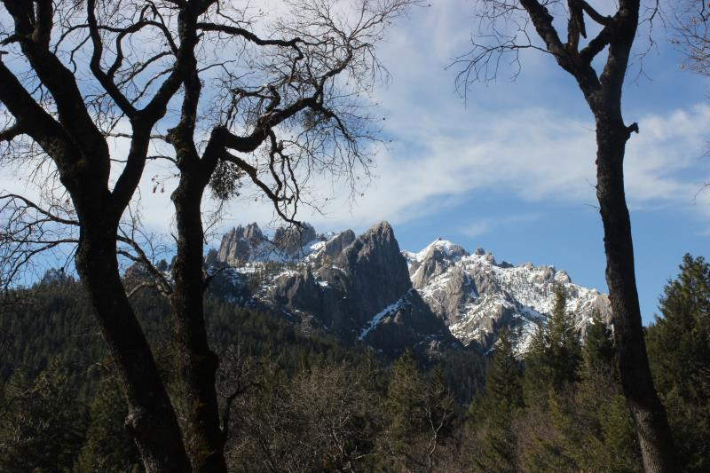 Castle Crags seen through trees at Vista Point