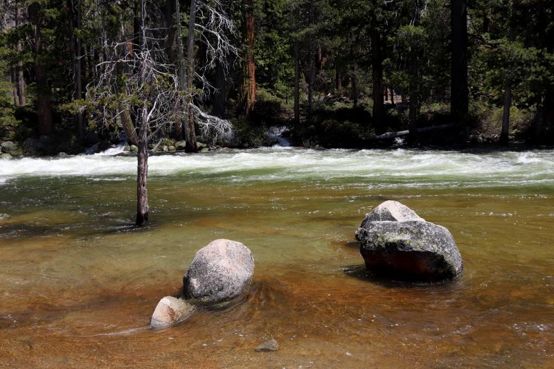 River at high level seen while descending Half Dome