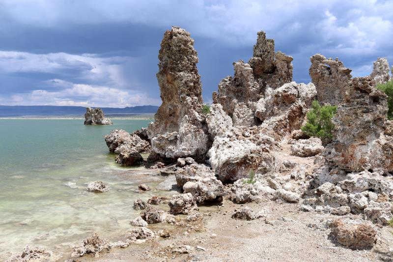 Mono Lake tufa towers along shore