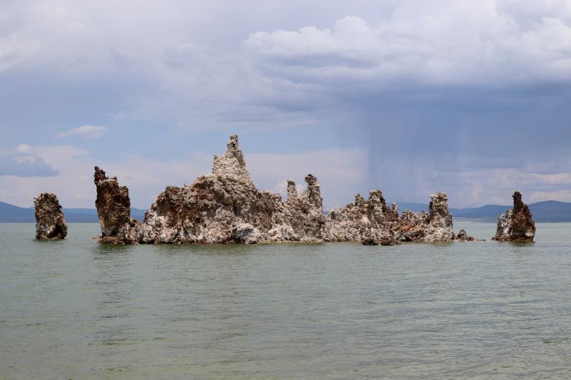 Mono Lake tufa towers along with storm clouds in distance