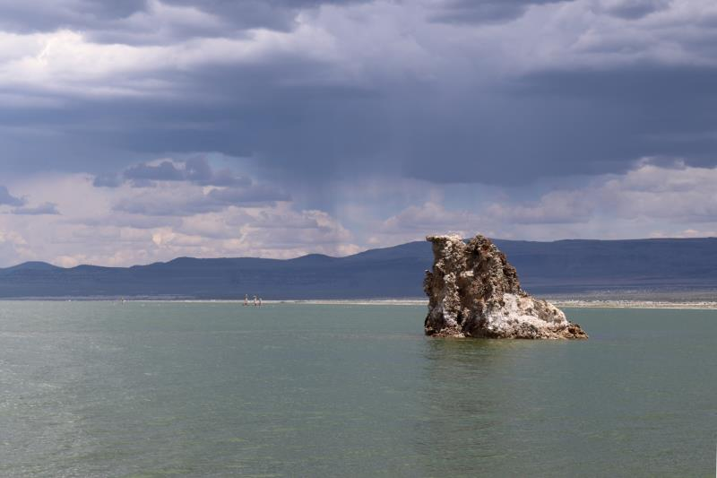Mono Lake tufa tower with storm clouds