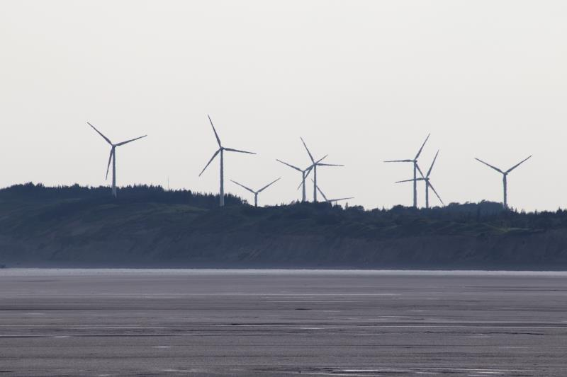 Windmills seen from beach