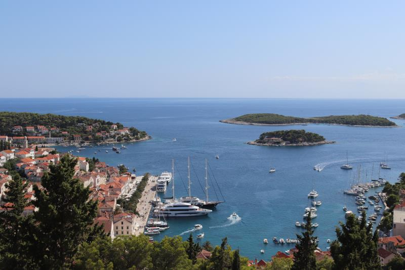 View of Hvar Town port from fortress