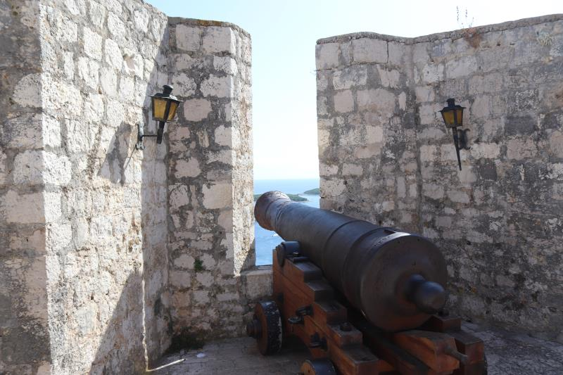 Cannon aiming out of fortress