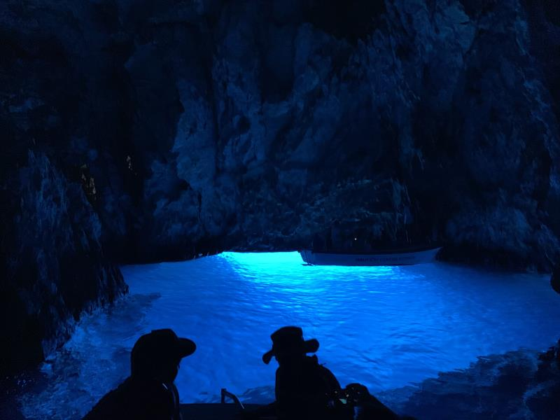 People inside Blue Cave