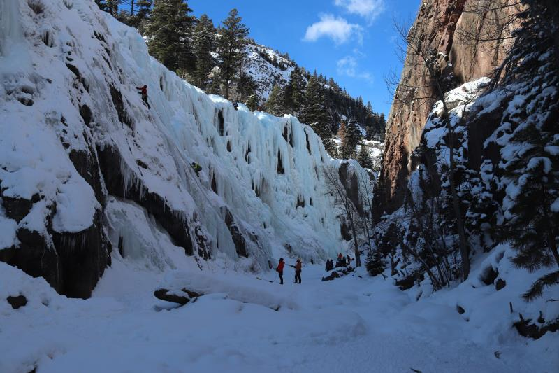 In South Park section of Ouray Ice Park on first day