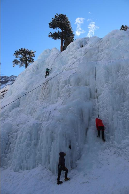 Climbing route in South Park section of Ouray Ice Park