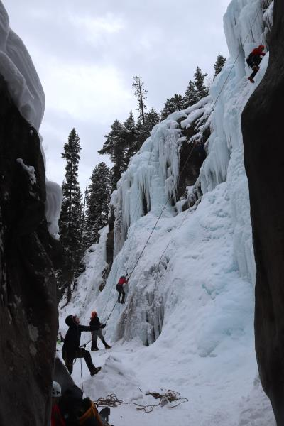 Climbers belaying in South Park section of Ouray Ice Park