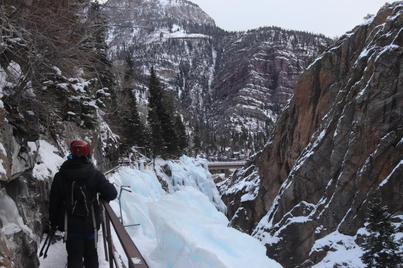 View of Ouray Ice Park from bridge along perimeter