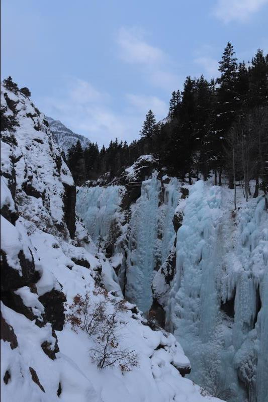 Ouray Ice Park seen near entrance along bridge
