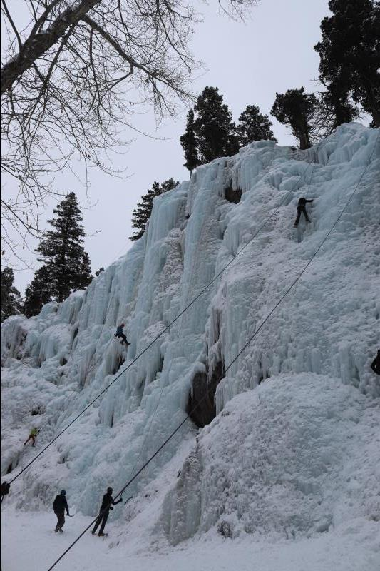Climbers in Ouray Ice Park