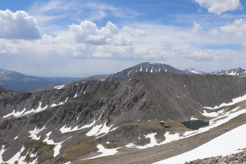 View on summit of Peak 10 with Upper Crystal Lake in background
