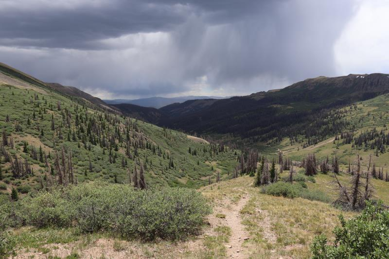 Rain clouds seen near beginning of San Luis Peak trail