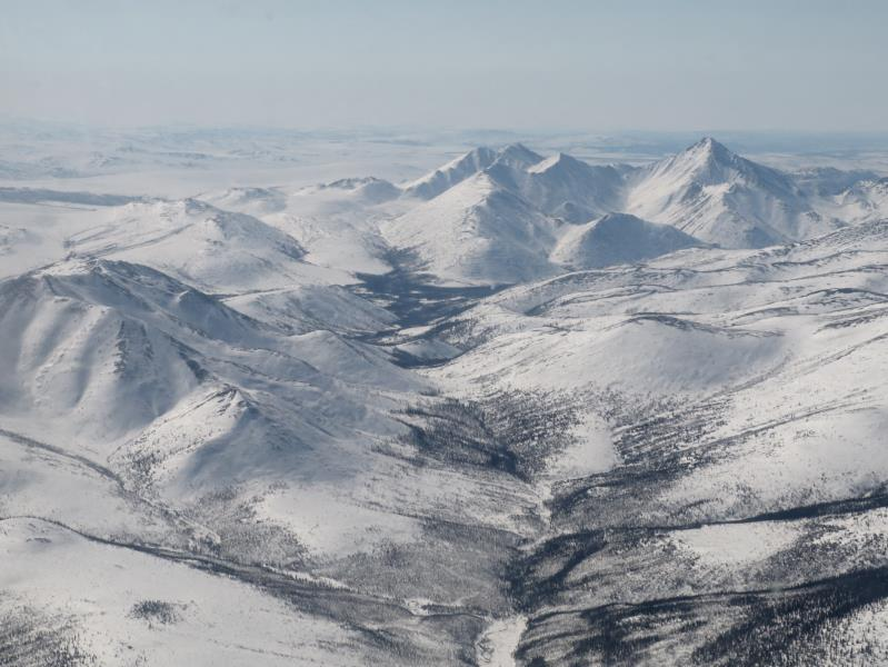View from airplane flying Fairbanks to Coldfoot