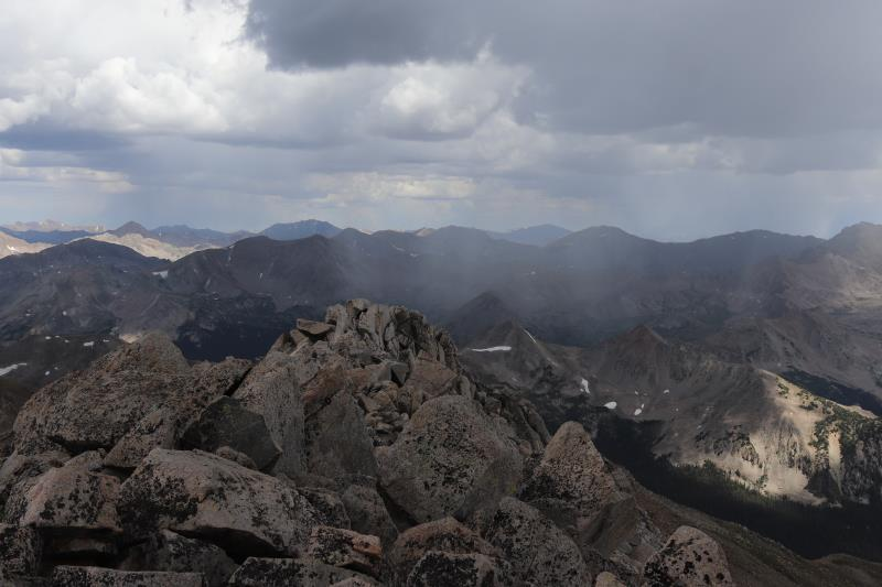 Summit view on Mt. Yale with incoming rain