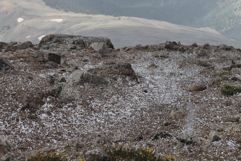 Soft hail-like snow below scramble to summit of Mt. Yale