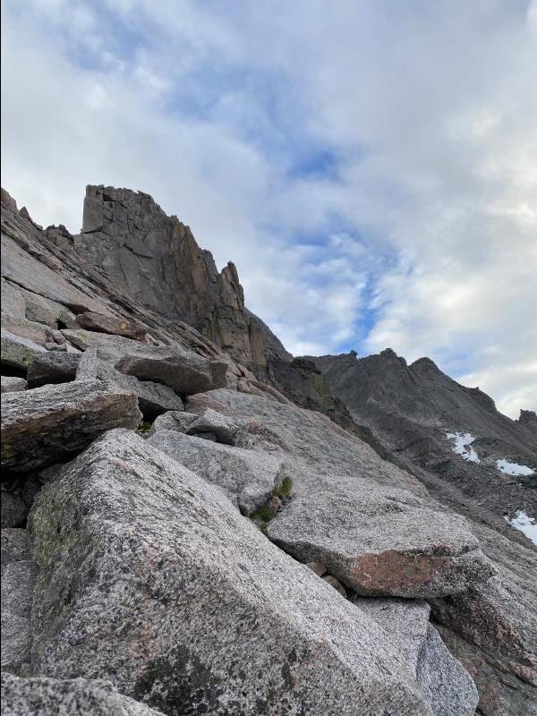 6:33AM looking at Ledges section of Keyhole Route on Longs Peak