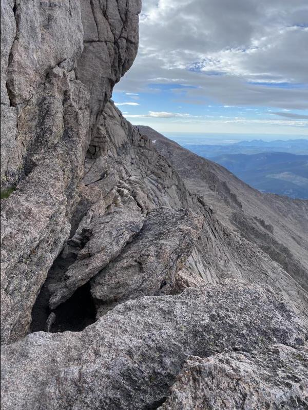 7:35AM looking at Narrows section of Longs Peak Keyhole Route