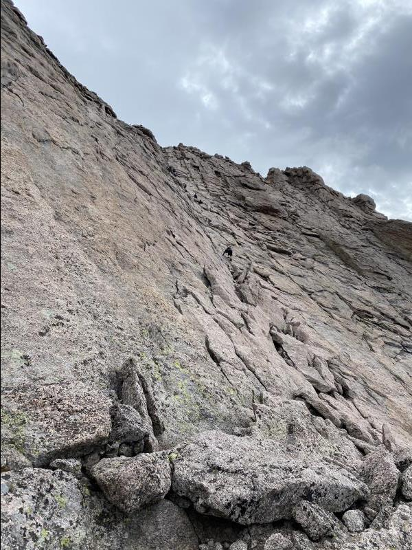 7:55AM looking up at Homestretch section of Longs Peak Keyhole Route