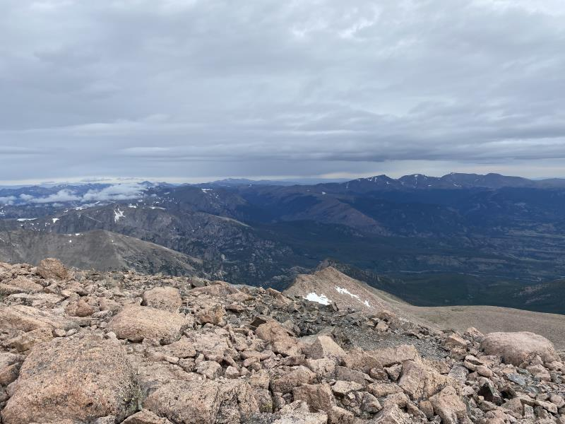 8:13AM looking out from summit of Longs Peak