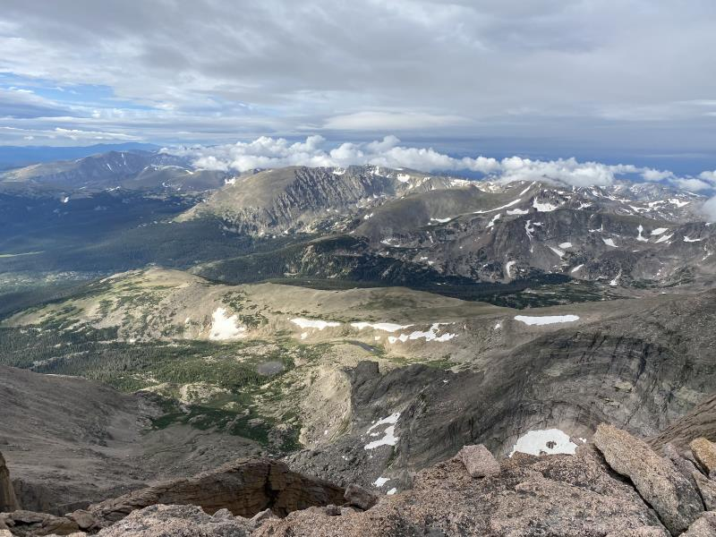 8:16AM looking out from summit of Longs Peak