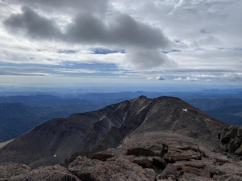 8:24AM looking out from summit of Longs Peak towards Denver
