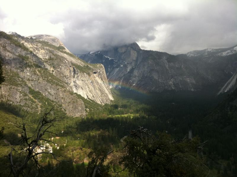 View of rainbow on trail