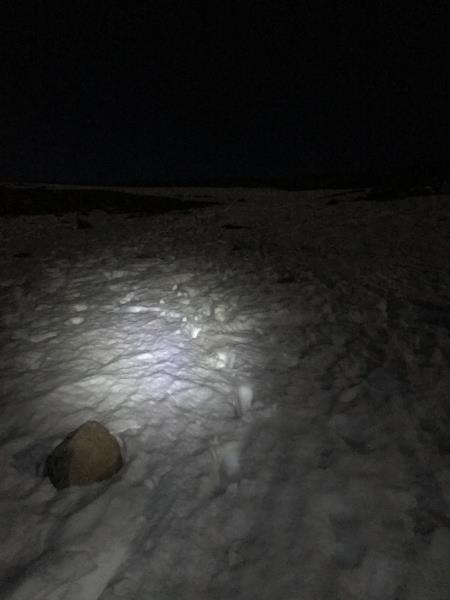 Hiking in the dark with a headlamp on Bierstadt