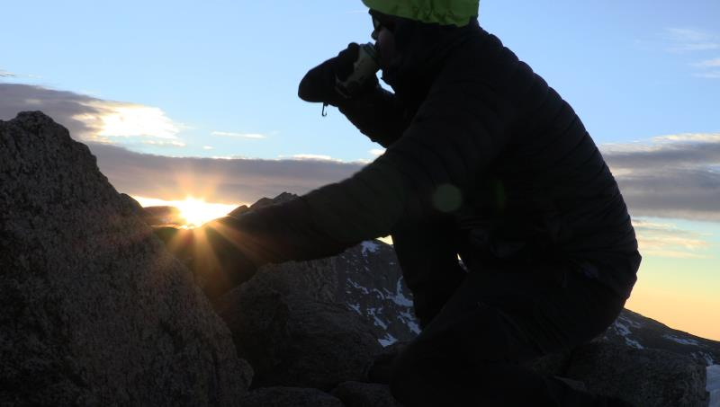 Me drinking a beer on top of Bierstadt at sunrise