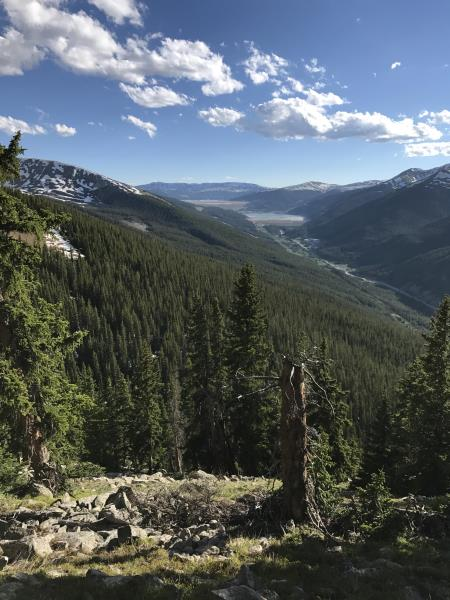Looking down from the Wheeler Trail going towards Copper Mountain