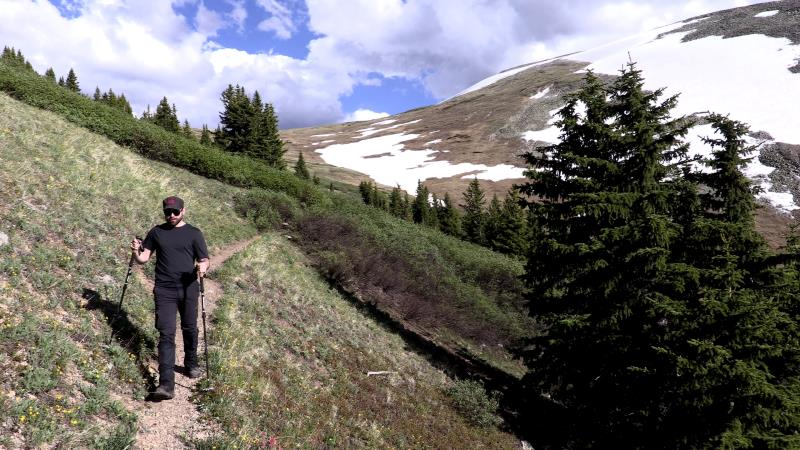 Me hiking down into Copper Mountain on the Wheeler Trail