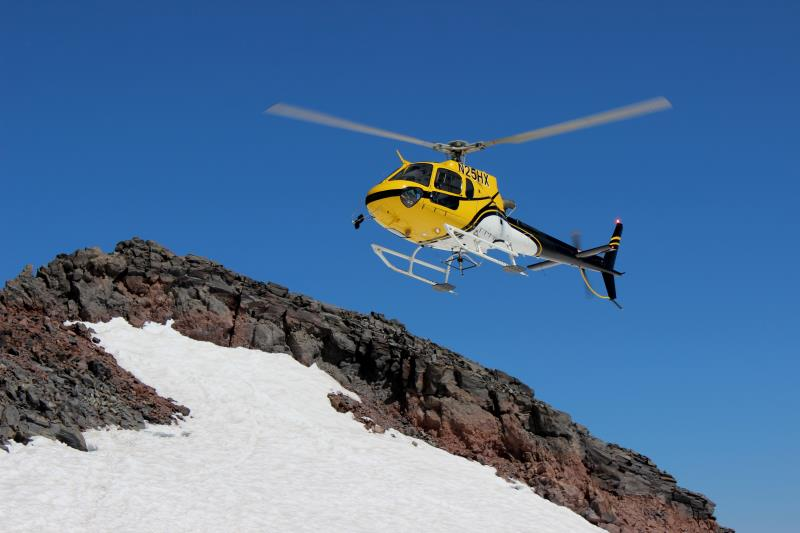 Rescue helicopter landing at Camp Muir