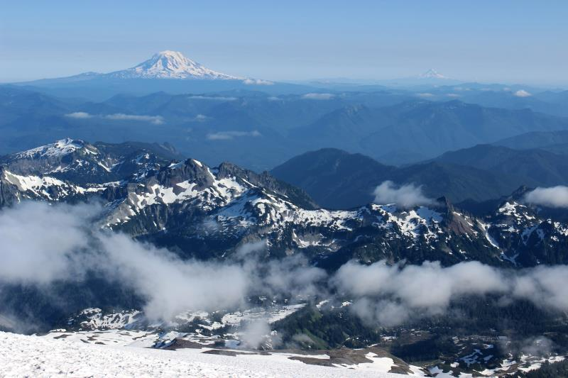 On the left, Mt. Adams, seen from Camp Muir