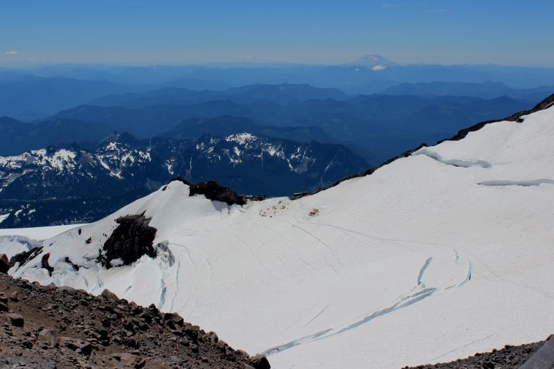 Looking back at Camp Muir on way to Ingraham Flats