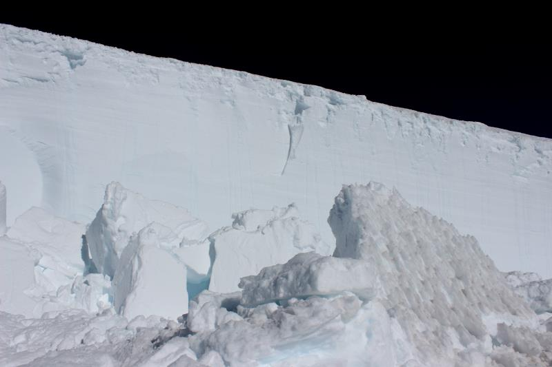 Large pieces of ice from an avalanche on the Disappointment Cleaver route