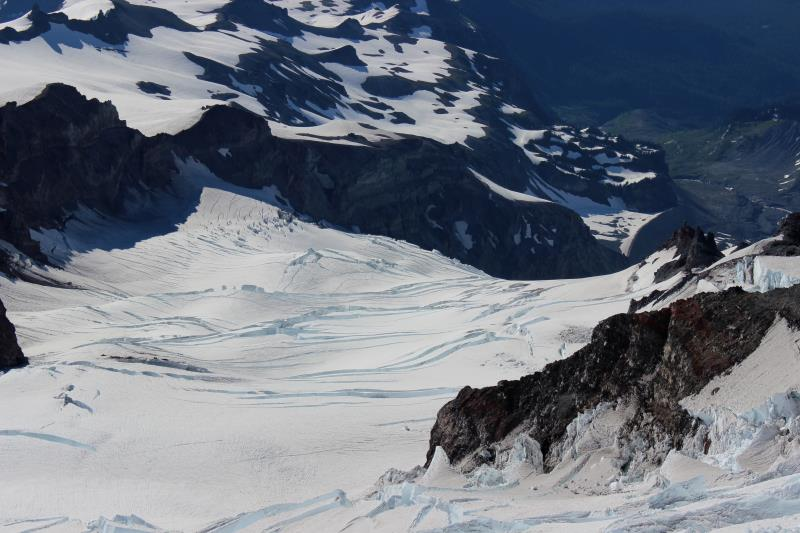 Closer view of crevasses seen while descending Mt. Rainier