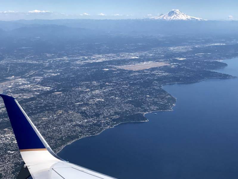 View of Mt. Rainier while departing Seattle from an airplane